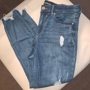 Express Ripped Blue Fringe Jeans